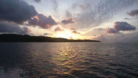 sunrise in the clouds in the ocean Footage