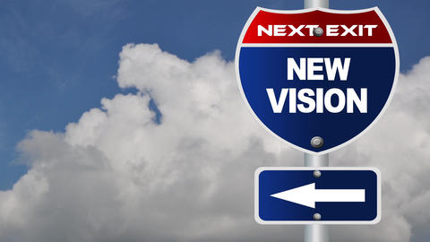 New vision road sign with flowing clouds Footage