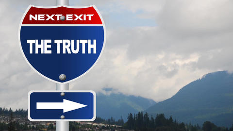 The truth road sign with flowing clouds Footage