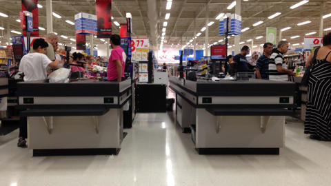 One side of check out counter inside Superstore Footage