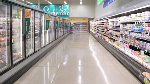 Dairy and fozen food corridor in PriceSmart Foods Footage