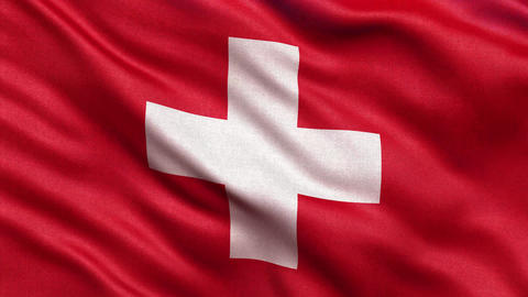 4K Flag of Switzerland seamless loop Ultra-HD Animation