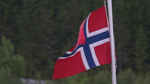 Flag Of Norway, Slow Motion Footage
