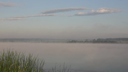 Summer morning panorama of the foggy lake Footage