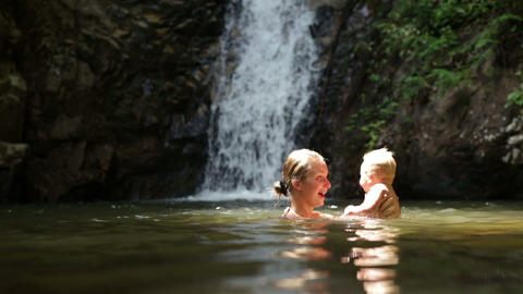 mom squirts baby waterfall Footage