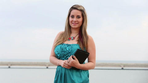 Gorgeous business woman with a digital tablet outd Footage