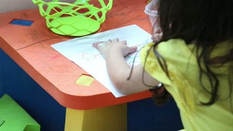girl drawing a picture Footage