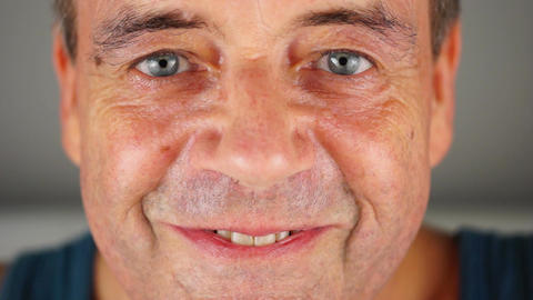 Adult Male (Senior) Facial Expression - Close Up stock footage