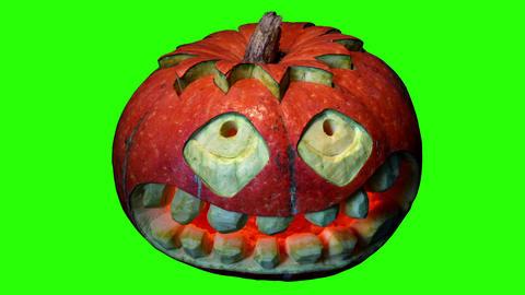 Carved Halloween pumpkin green screen, Full HD Stock Video Footage