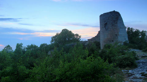 Timelapse sunset in the mountains. Cuyren Fortress Footage