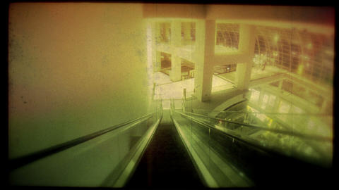 Retro Look Speed Up Escalator Ride stock footage