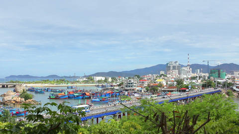 Asian City. Bridge of the city of Nha Trang. Vietn Stock Video Footage