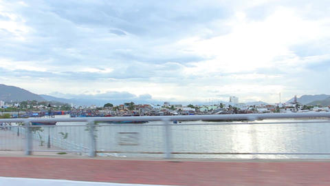 Nha Trang, Vietnam July 10, 2014: Drive. Bay. Asia Stock Video Footage