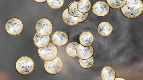Raining Euro Coins Animation Stock Video Footage