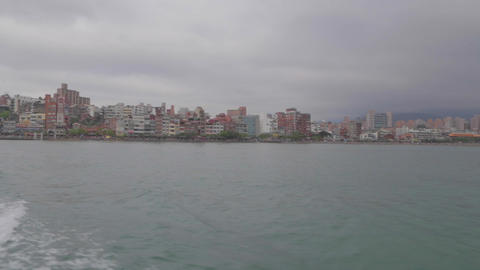 view of tamsui from the ferry Footage