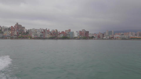 view of tamsui from the ferry Stock Video Footage