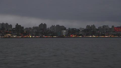 evening - view of tamsui from ferry Footage