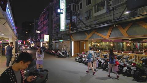 180 degree pan on tea steet - dunhua district Stock Video Footage