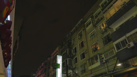 establishing shot - evening tea steet - dunhua dis Stock Video Footage