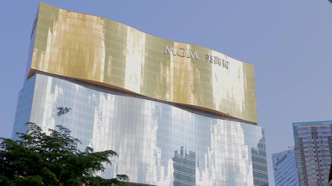 pan of the MGM macau Footage