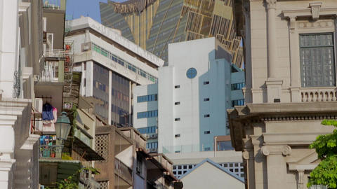 macau grand lisboa seen from Senado square Stock Video Footage