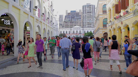 senado square - yellow buildings Footage