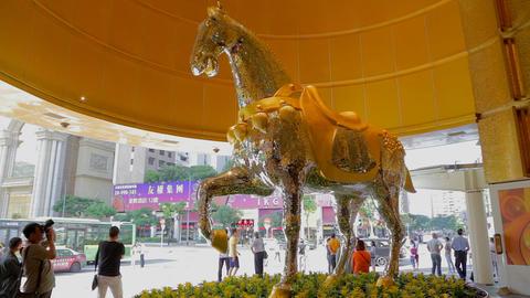 Mgm Macau Hotel Casino Horse Statue Sculpture stock footage