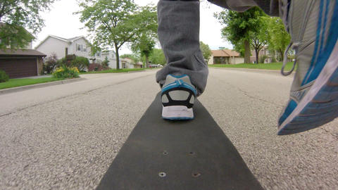 Skateboard Ride on the Street Footage
