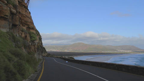 a car view of the mountain and ocean from the coas Footage
