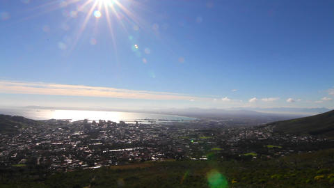 a pan of downtown Captetown from Table Mountain Footage