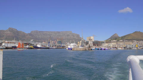 a pan of table mountain as seen from a boat headin Footage