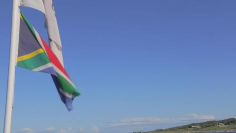 a shot of table mountain from the robben island bo Stock Video Footage
