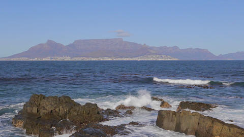 a close shot of table mountain seen from Robben is Stock Video Footage