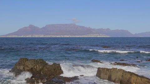 a close shot of table mountain seen from Robben is Footage