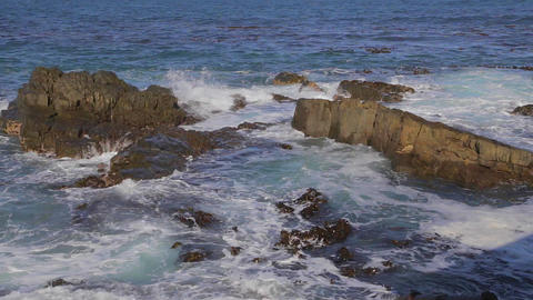 a pan from the ocean viewpoint at Robben Island Footage