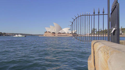 cinematic wide dolly shot of the the sydney opera Stock Video Footage