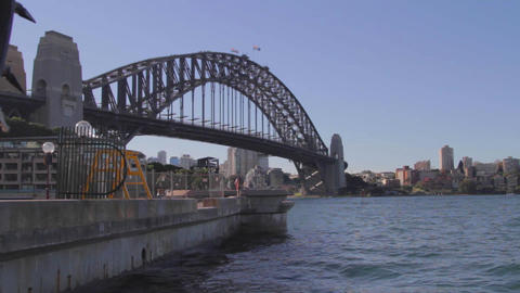 a wide cinematic dolly shot of the Sydney harbour  Footage