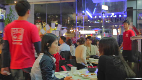 nightlife - people dining in a korean restaurant Stock Video Footage