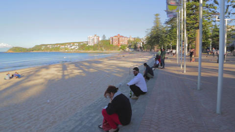 a pan of manly beach on a sunny afternoon Stock Video Footage