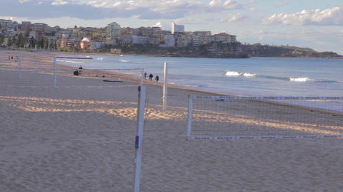 manly beach on a sunny afternoon - volleyball nets Footage
