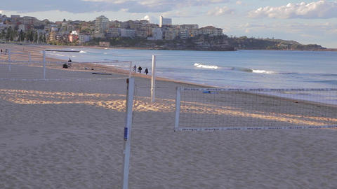 manly beach on a sunny afternoon - volleyball nets Stock Video Footage