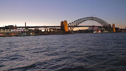 evening view of the sydney harbour bridge from the Footage