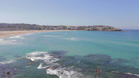 georgeous sunny day high pan shot at bondi beach 2 Stock Video Footage
