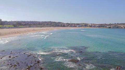 georgeous sunny day high pan shot at bondi beach 2 Stock Video Footage