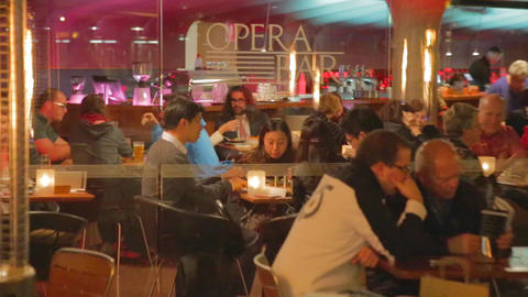 nightlife - people enjoying dinner and drinks at a Footage