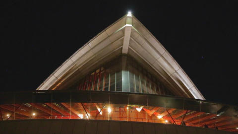 Inside and out of the Sydney opera house at night Footage