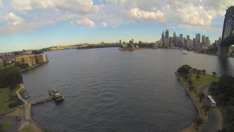 moving aerial from north sydney to sydney opera ho Footage