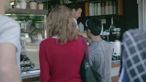 people at bondi beach ordering coffee close shot Footage