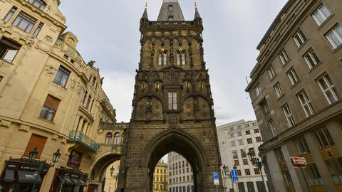 historic powder tower prague time lapse tilt 11415 Footage