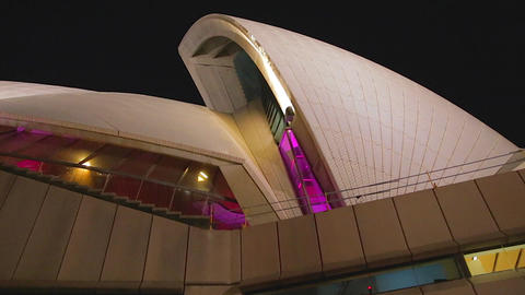 Pink Glowing Sydney Opera House In The Evening 2 S stock footage